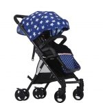 Four-way High View Portable Shock Absorbers Deck Trolley Stroller (Blue Stars Printing)