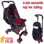 Phoenixhub Japan quality care Folding Adjustable backrest and Reversible Baby stroller 93744 (Polka Dot/Black)