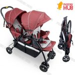 PhoenixHub Twin High Quality Double Baby Stroller Tandem Stroller Push Chair Foldable Stroller (RED)