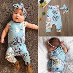 [Ralphshop Girls]Infant Baby Boys&Girls Sleeveless Flower Print Floral Romper Jumpsuit+Headband