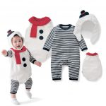 {hey @STORE}  Newborn Infant Baby Boys Christmas Striped Romper Waistcoat Hat Cap Costume Set