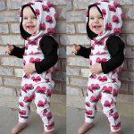 MoKiEShop cute Toddler Infant Baby Boys Girls Heart Beard Print Hooded Romper Jumpsuit Clothing