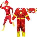 Boy The Flash Cosplay Muscle Printed Superhero Fancy Dress Kids Party Halloween Flash Cosplay Costumes Boy Jumpsuits+Mask 2PCS-in Clothing Sets from Mother