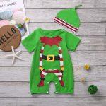 Infant Baby Boys Girls Short Sleeve Christmas Cartoon Romper Jumpsuit+Hat Sets
