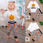 Halloween Toddler Infant Baby Girls Boys Letter Romper Pants Costume Outfits Set