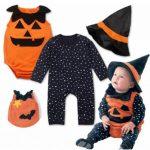 [spacickie]Newborn Infant Baby Boys Star Pumpkin Romper Halloween Outfits Costume Set