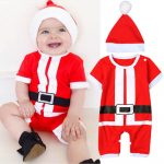 Dotsonshop Free shipping  Newborn Baby Girl Boy Christmas Costume Santa Claus Hat Romper Clothes Outfits