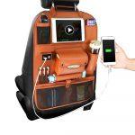 Universal Seat Back Bag Charging Car Organizer Auto Storage Bag Car Hanging Bag 4 USB PU Leather Automobile Vehicle