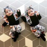 OSBORNSHOP_Newborn Baby Girl Boy Tops Romper Floral Pants Headband Outfits Set Clothes