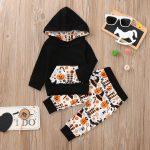 Infant Baby Boys Girls Cartoon Hooded Tops Pants Halloween Costume Outfits Set /1PC shirt + 1PC pants