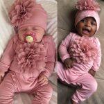 BLWorld Toddler Baby Kids Girls Boys 3D Flower Long Sleeve Solid Romper+Cap Outfit Set