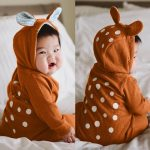 Dotsonshop Free shipping Infant Baby Boy Girl Deer Dot Hooded 3D Ear Romper Jumpsuit Clothes Outfits