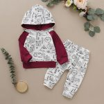 Autumn Baby Boys Long Sleeve Animal Print Hoodie Sweatshirt Tops+Pants Trouser Costume Set