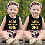 Warmihome Infant Baby Boys&Girls Letter Print Vest Tops+Floral Shorts+Headband Outfits