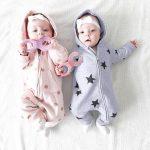 MoKiEShop cute Newborn Infant Baby Girls Boys Stars Print Hooded Zipper Romper Jumpsuit Outfits