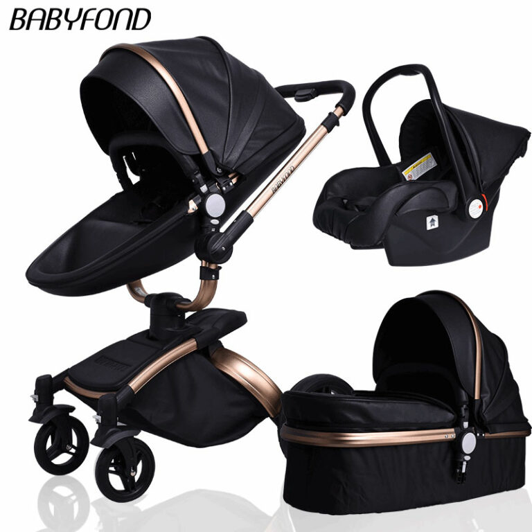 Baby'fond luxurious 3 in 1 baby stroller aluminium alloy baby pram leather two-way shock baby trolley with gifts umbrella