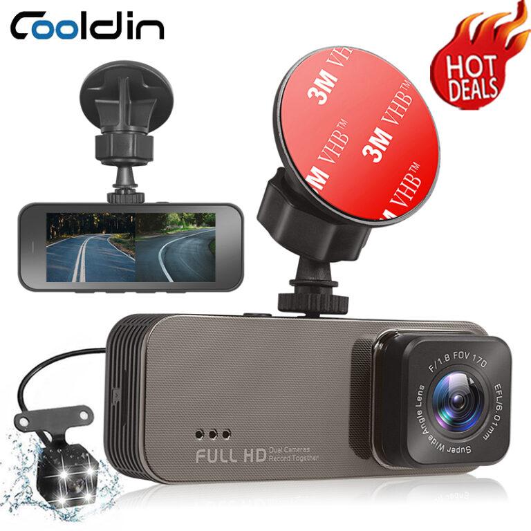 COOLDIN Car DVR Camera Dual Lens Video Recorder 3 Inch Full HD 1080P Loop Recording Dashcam Registrar Night Vision G-Sensor Dash Cam