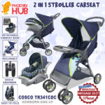 Phoenix Hub Cosco TR341CDC Lift and Stroll Baby Travel System Portable Folding Baby Stroller with Baby Carrier Car Seat Base for Baby