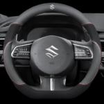 Suzuki Car Steering Wheel Cover (D Shape Black) Leather Suitable for All Suzuki Cars Swift Grand Vitara Jimny SX4 Alto APV Vitara 38CM