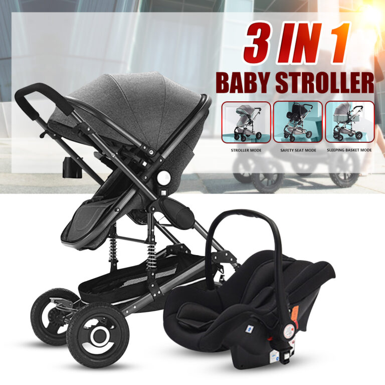 3 IN 1 Folding Newborn Baby Pram Stroller High View Carriage Basket Car Seat