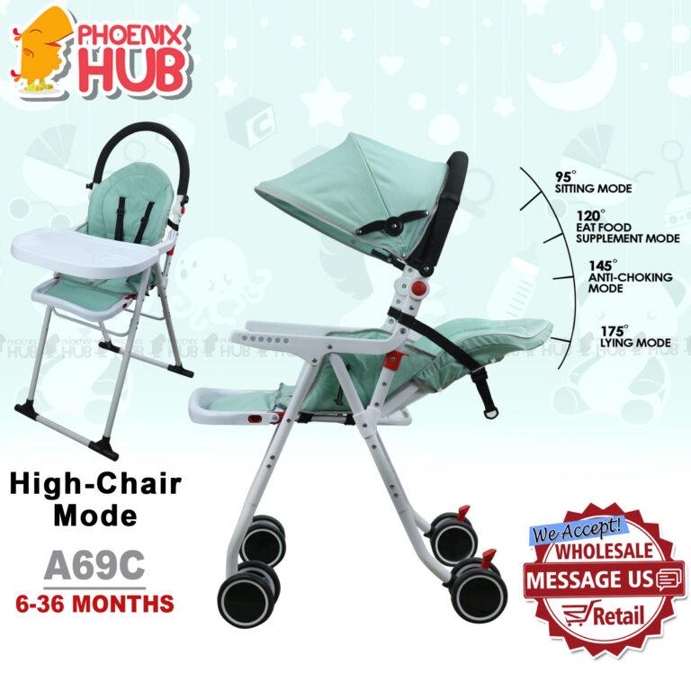 Phoenix Hub A69C 2 in 1 Baby Stroller High Chair Pushchair Stroller Pram Baby Trolley Reclining Stroller pocket Stroller Multi Function  Baby Travel System