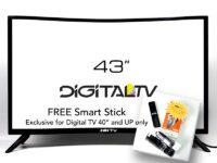 HKTV 43 Inch Curved Digital LED TV with Free Smart Stick