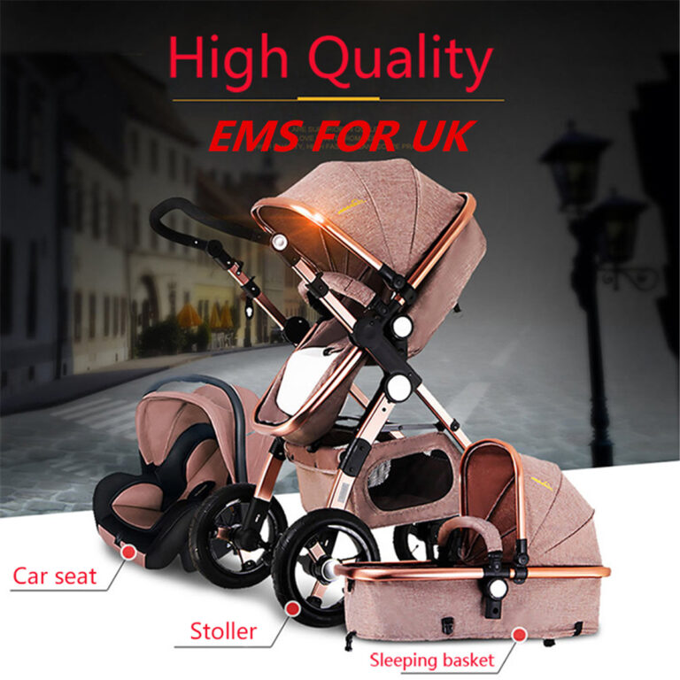 Pro Foldable Baby Stroller High Quality View Pram Travel Pushchair Bassinet & Car Seat