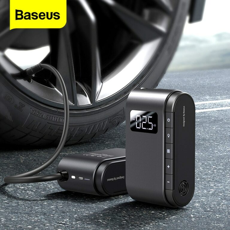 ?COD?Baseus Portable Car Air Compressor 4000mAh Battery Car Tyre Inflator Motorcycle Bicyle Tire Inflatable Digital Portable Electric Auto Pump for Car Motorcycle Compressor