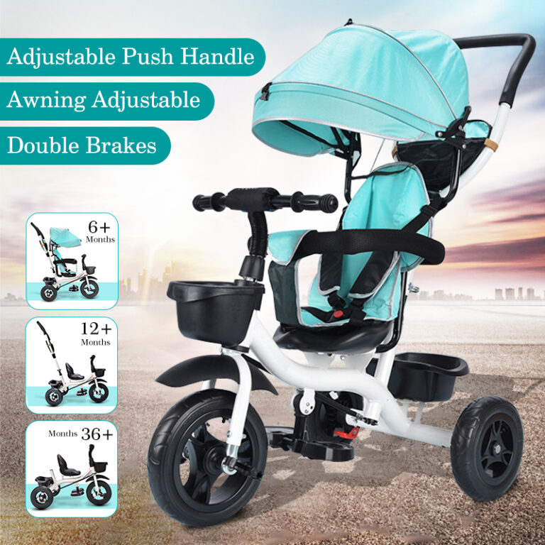 3-in-1 Baby Tricycle Kids Trike & Stroller with Adjustable Push Handle