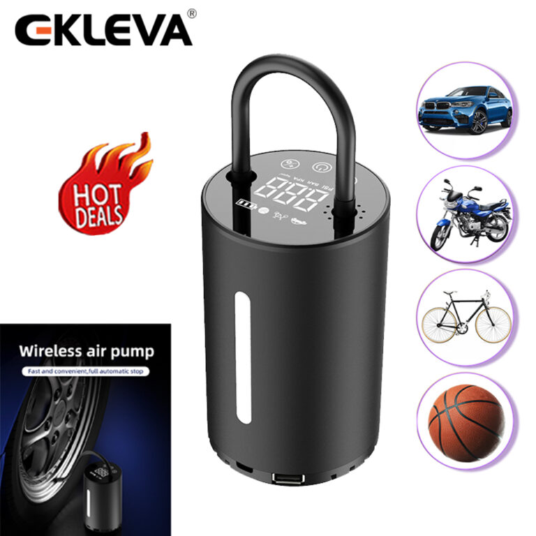 EKLEVA Car Air Compressor Inflatable Pump With LED Lamp Display For Motorcycle Bicycle Car Tyre Inflator Wireless Electric Air Pump
