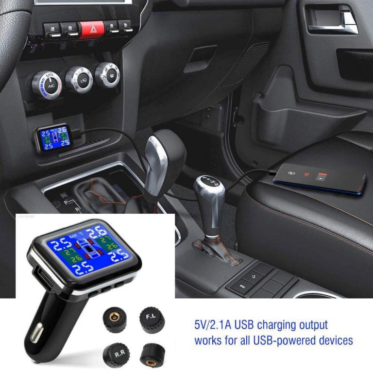 Sea-Bloom?COD??Free Shipping?12V Multifunction USB Car Charger USB Gauge TPMS Tire Pressure Monitor System LED Socket