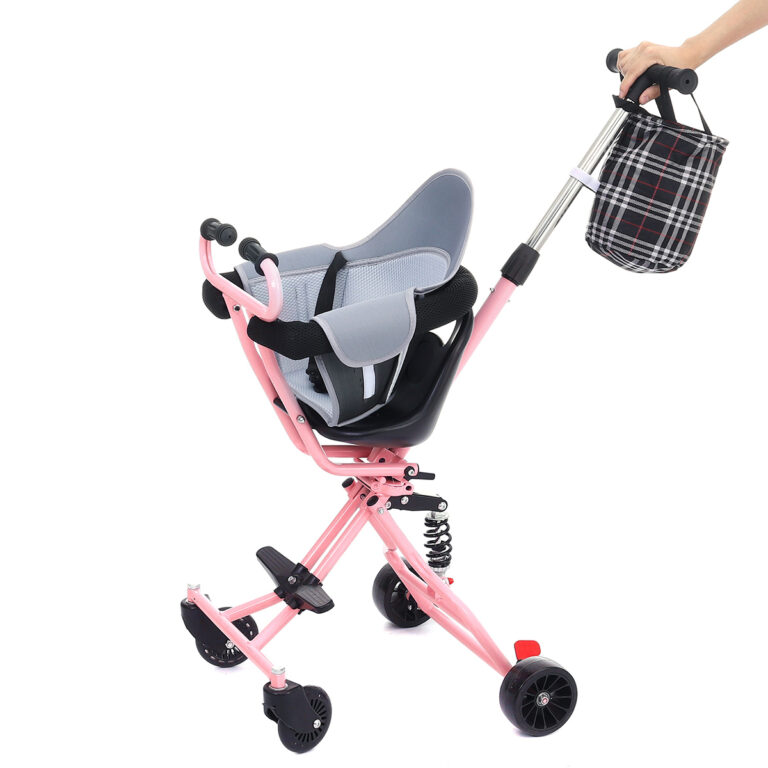 4 wheel Foldable Baby stroller Shock absorber one key folding wheelchair lightweight +Cushion+basket