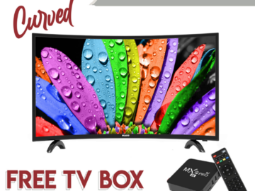 """MASS 32"""" Curved LED TV with Free TV Box"""