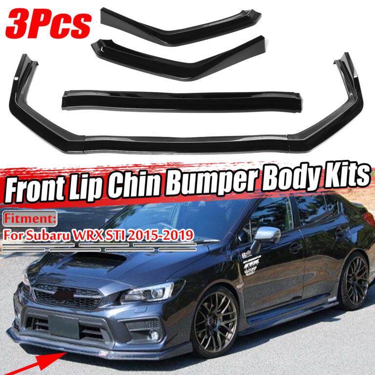 3PCS Front Bumper Lip Splitter Spoiler Gloss Black For Subaru WRX STI 2015-2019