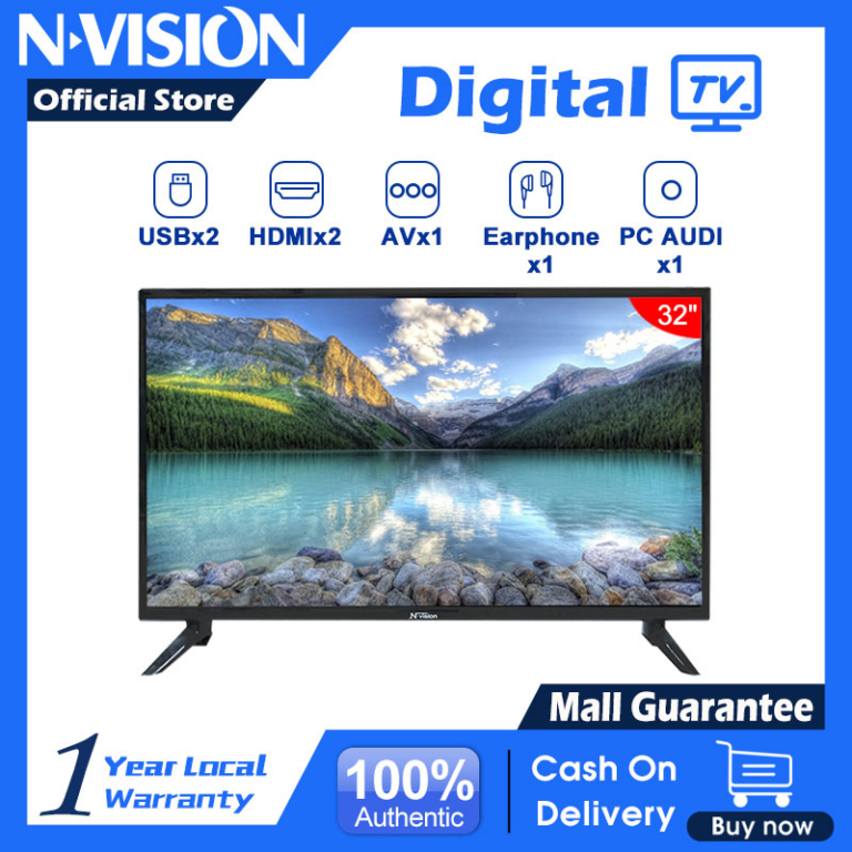 ?NVISION?32 inch HD LED TV 32T1B Built-in Speakers with Multiple Imputes HDMI/USB Ports and Remote/USB/AUX/CVBS/HDMI/VGA/Provide Sale Invoice/COD