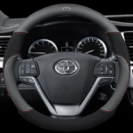 Toyota Car Steering Wheel Cover (Round Shape Black) Leather Suitable for All Toyota Cars Alphard Avanza Camry Corolla Altis Estima Harrier Hilux Innova Vellfire Vios Fortuner 38CM