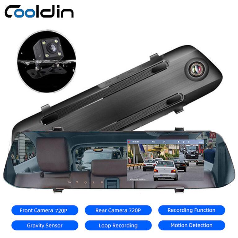 COOLDIN 4.5 Inch IPS Screen Car DVR 1080P Dual Lens Rearview Mirror Camera Mirror DVR Loop Recording Motion Detection Parking monitor G-Sensor Dash Cam