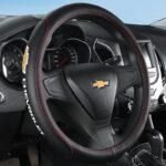 No Smell Thin Chevrolet Logo Leather Car Steering Wheel Cover Accessories 38cm for Captiva Cruze Spin Trailblanzer Optra Orlando Sonic Equinox CAVALIER Malibu