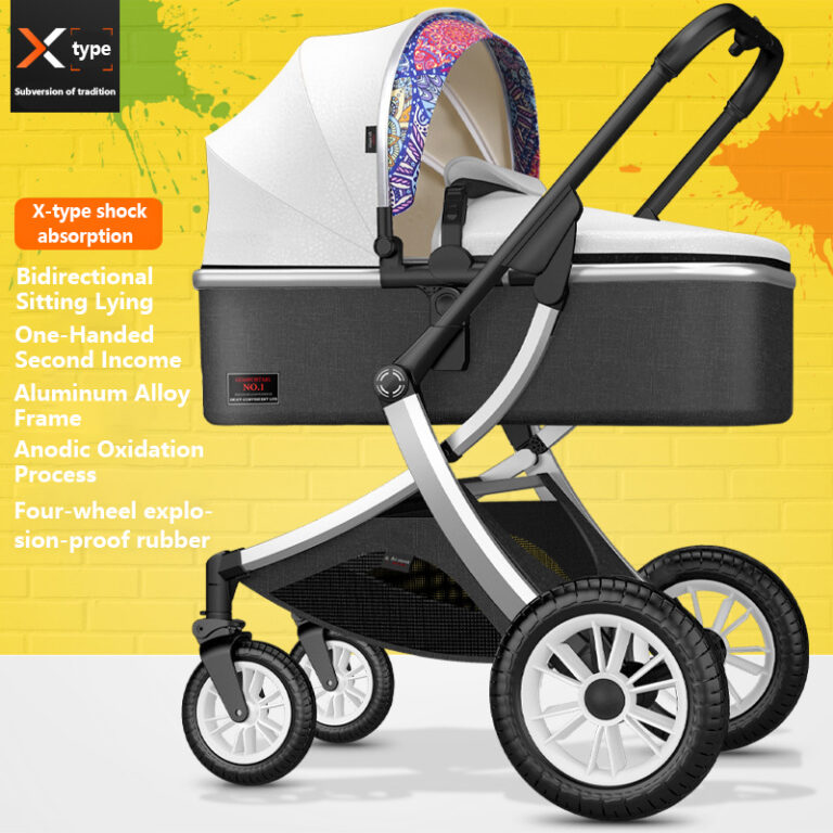High-landscape 3-in-1 Baby Stroller Car Seat and Stroller Combination Can Sit and Lie Down Two-way Folding Highend Customization