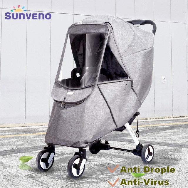 Baby Stroller Rain Cover Universal Wind Dust Weather Shield with Windows For Strollers Pushchairs Stroller Accessories(Grey)