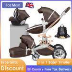 Hot Mom Baby Stroller 3 in 1 travel system with bassinet and car seat?360° Rotation Function children stroller