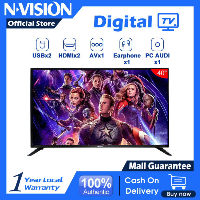 ?NVISION?40 inch LED Full HD TV 40G6B1 Energy Star Slim Design 1080p/Built-in Speakers with Multiple Imputes HDMI/USB Ports with Remote/Wall Mountable/Provide Sale Invoice/COD