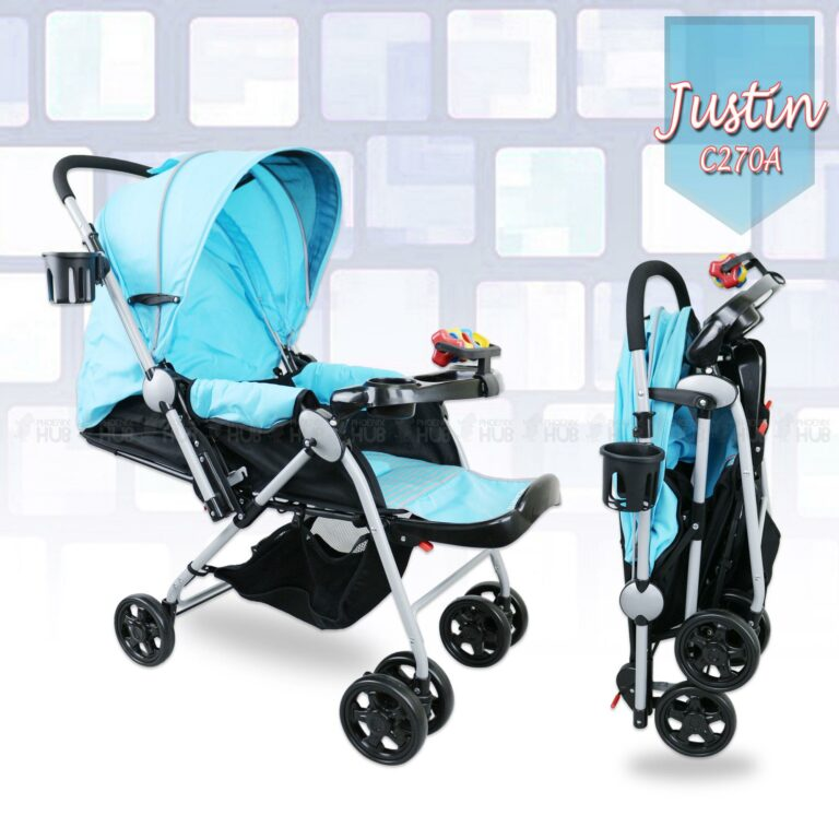 Justin C270A Reversible Handle Reclinable Foldable Stroller Push Chair Baby Trolley Baby Pram