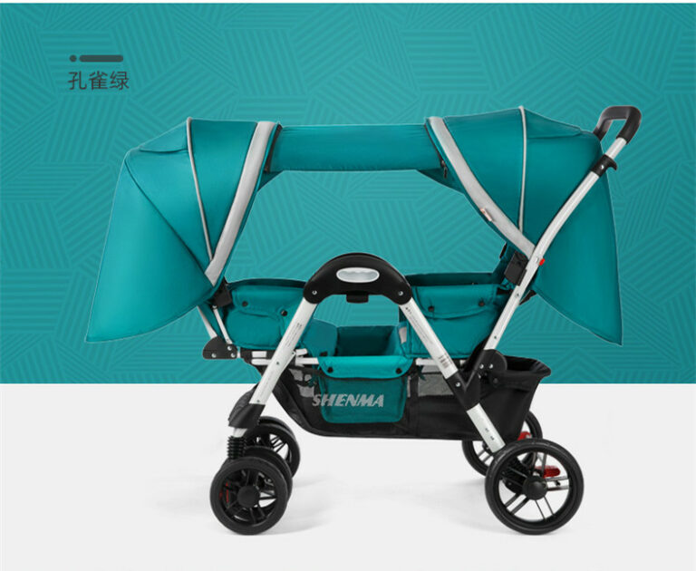 Baby stroller for twins Four-wheel shock-absorbing baby can sit in a reclining double stroller Foldable Face-to-Face