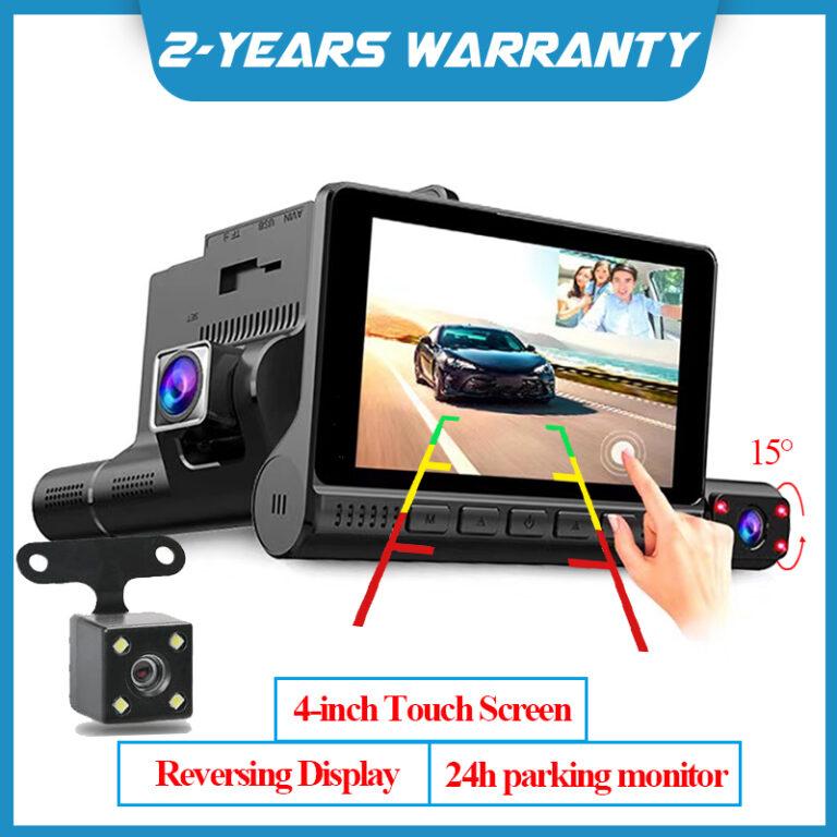 HWD002S 4 inch Touch Screen 1080P HD 3 Lens Car DVR Camera Lens Car Recorder DVR High temperature resistance Dash Cam G-Sensor