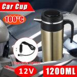 1200ml DC 12V Car Electric Water Mug Heater Temperature Control Heating Coffee Milk