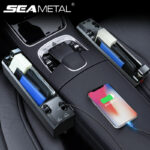Car Seat Gap Storage Box Car Organizer with Charging Port Cable Tidying Accessories