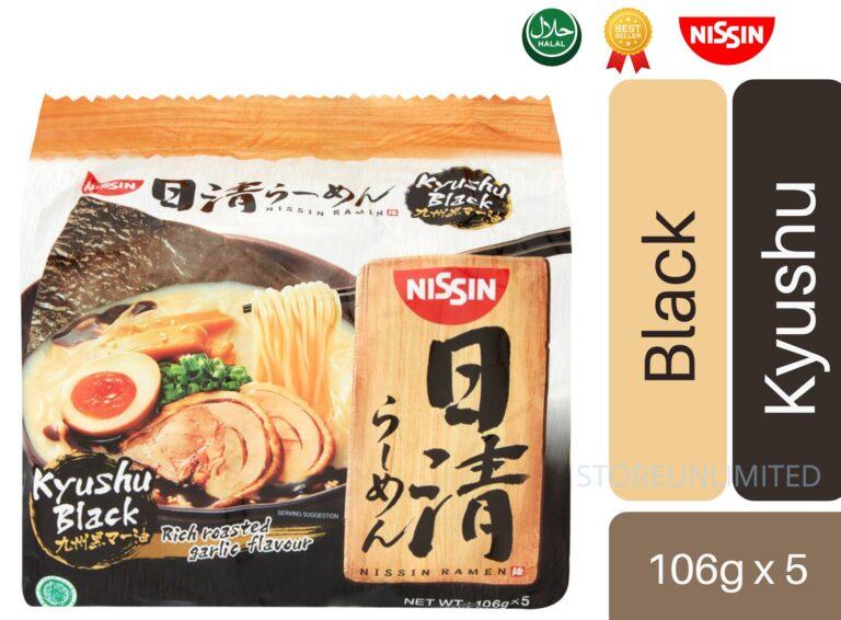 NISSIN  RAMEN BLACK KYUSHU ORIGINAL JAPANESE TASTE RAMEN 5 PCS IN 1 PACK 106g HALAL PRODUCT