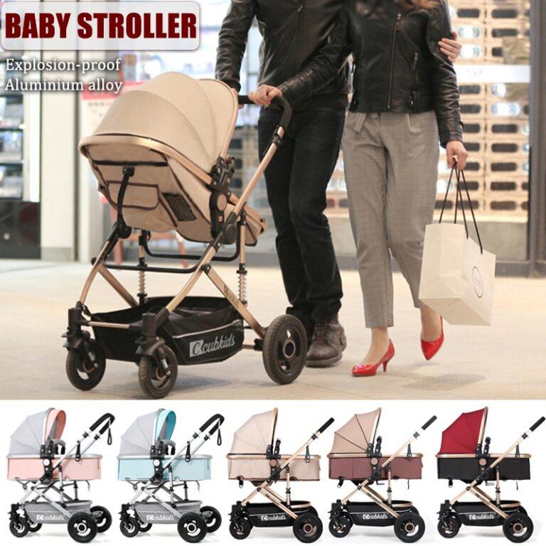 Foldable Lightweight Explosion-proof Baby Stroller Pushchair Newborn Bassinet for 0-36 Months