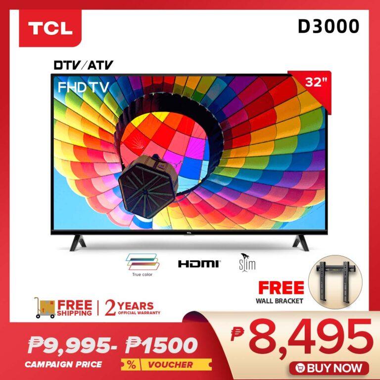 TCL 32-inch Digital HD Ready LED TV-2HDMI Input 1USB Input Slim Design-Built in Dolby Audio (32D3000)